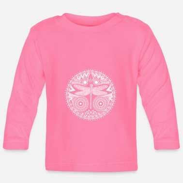 Hippie Magical Mandala Dragonfly Crescent Moon Design - Baby Longsleeve Shirt