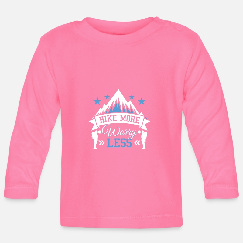Gift  Babykleding - Hike more worry less - mountain hiking gift - Baby longsleeve azalea