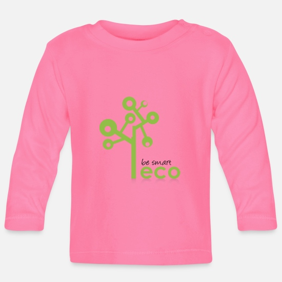Eco Baby Clothes - Eco System - Organic, Eco Tree - be smart be green - Baby Longsleeve Shirt azalea