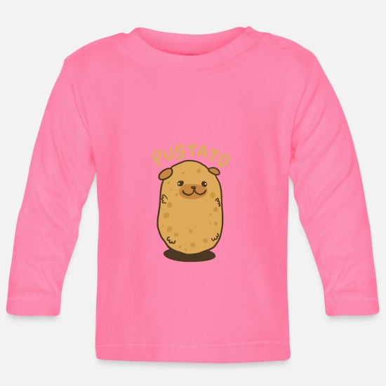 Pug Baby Clothes - Pugtato potato dog - gift - Baby Longsleeve Shirt azalea