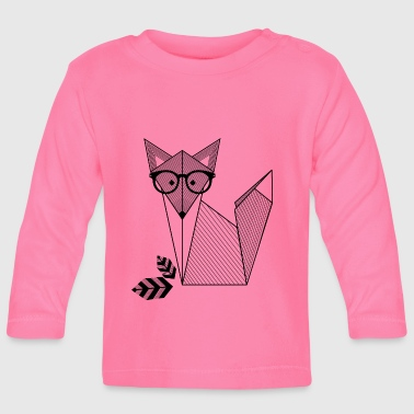 Origami Fox with Glasses - Baby Long Sleeve T-Shirt