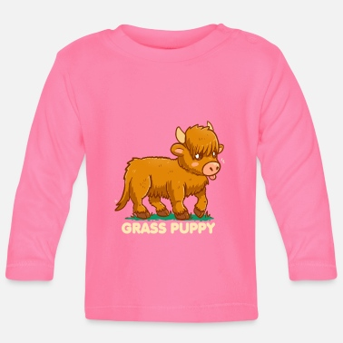 Grass Puppy - Scottish Highland Cow - Baby Long Sleeve T-Shirt