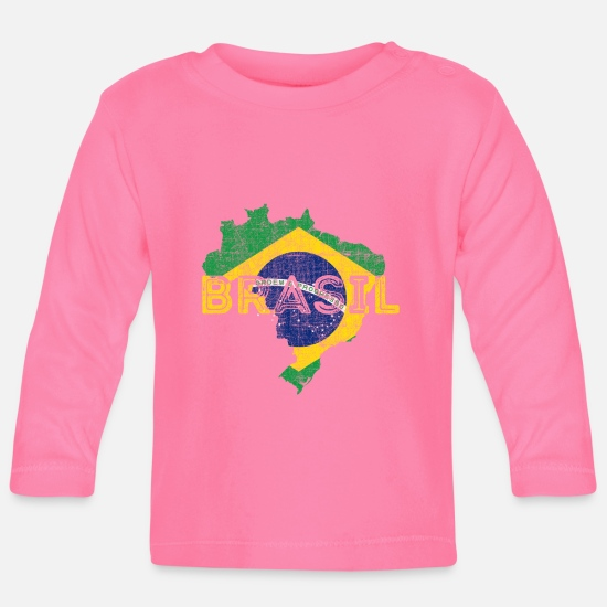 Typography Baby Clothes - Brazil Map and Flag - Cool Brasil Shape Design - Baby Longsleeve Shirt azalea