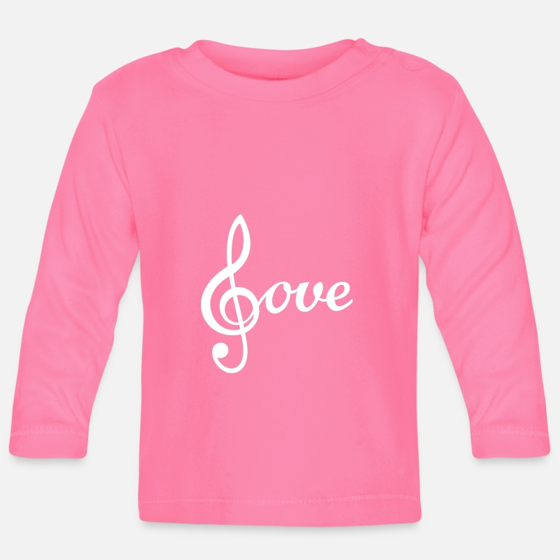 Treble Clef Baby Clothing - I love Music Treble Clef  - Baby Longsleeve Shirt azalea