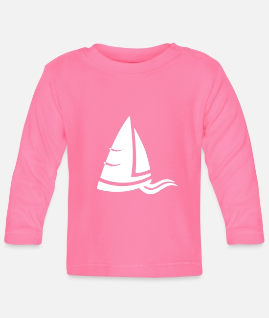 Water Baby Long-Sleeved Shirts - Sea air sailboat logo white - Baby Longsleeve Shirt azalea