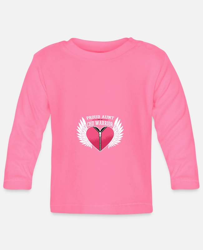 Proud Baby Long-Sleeved Shirts - Chd Warrior Proud Aunt Zipper Heart With Angel Win - Baby Longsleeve Shirt azalea