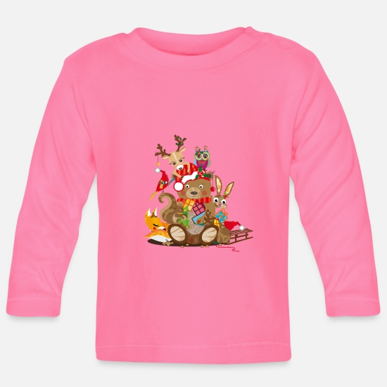 Christmas Baby Clothes - Animals celebrate Christmas - Baby Longsleeve Shirt azalea