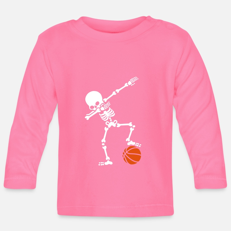 Basketball Baby Clothing - Dab dabbing skeleton football basketball - Baby Longsleeve Shirt azalea
