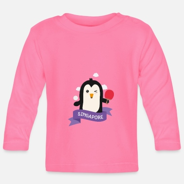Playing Penguin table tennis from SINGAPORE Gift - Baby Longsleeve Shirt