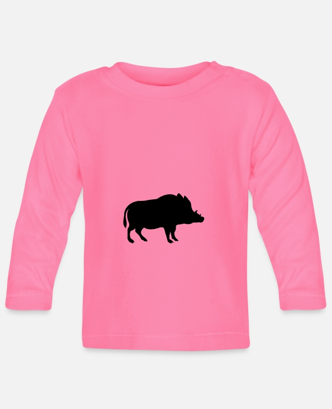 Hog Baby Long-Sleeved Shirts - wild boar - Baby Longsleeve Shirt azalea