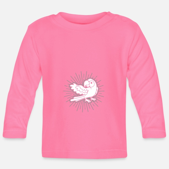 Love Baby Clothes - Parrot bird holder gift idea - Baby Longsleeve Shirt azalea