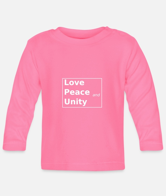 Love Baby Clothes - Love Peace and Unity - Baby Longsleeve Shirt azalea