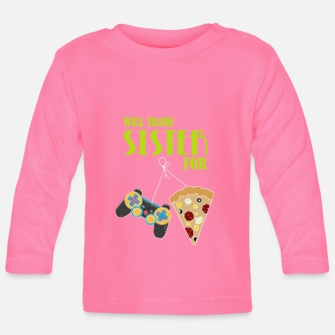 Video Sister Brother Video Game Pizza Gift Grappig - Baby longsleeve