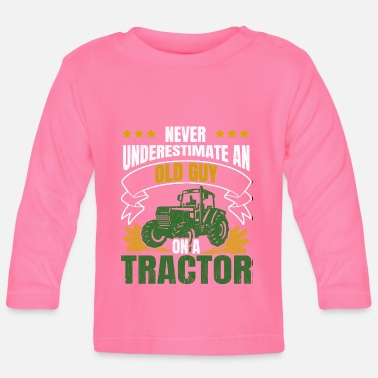 Held Never Underestimate An Old Guy On A Tractor Grunge - Baby Langarmshirt