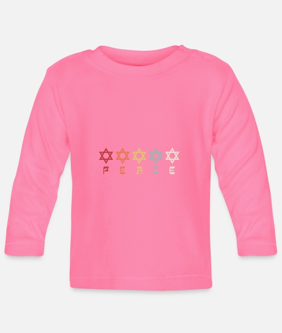 Christmas Baby Long-Sleeved Shirts - Israel Star of David Pride Hebrew Retro Gift - Baby Longsleeve Shirt azalea