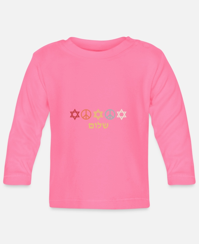 Passover Baby Long-Sleeved Shirts - Israel Star of David Peace Sign Retro Gift - Baby Longsleeve Shirt azalea