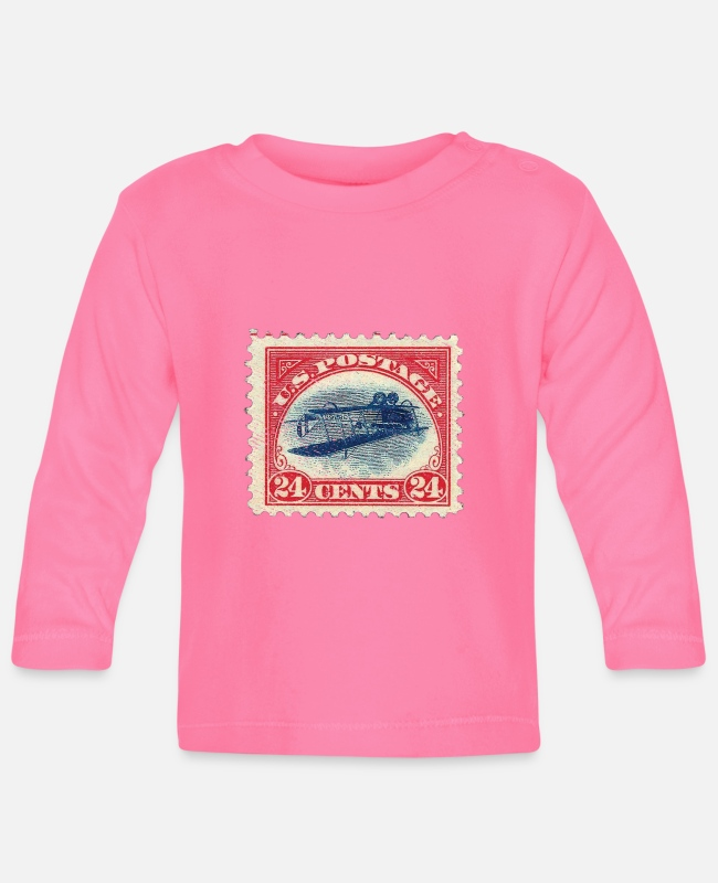 Rare Baby Long-Sleeved Shirts - Inverted jenny stamp - stamp collector philatelist - Baby Longsleeve Shirt azalea