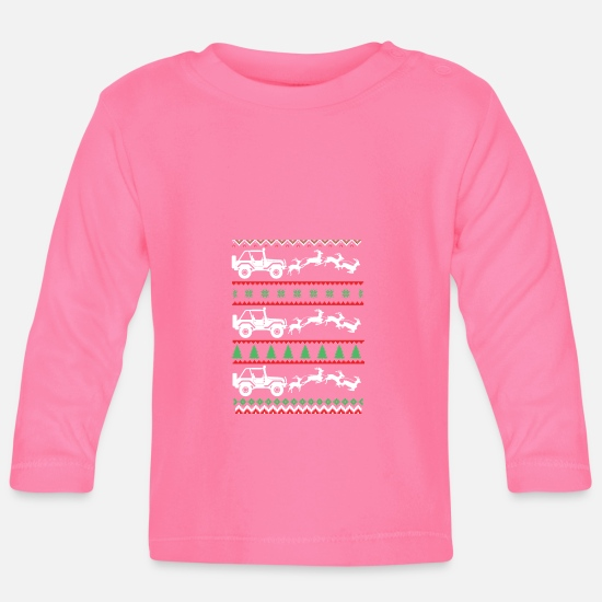 Jeep Baby Clothes - Jeep and reindeer - Baby Longsleeve Shirt azalea
