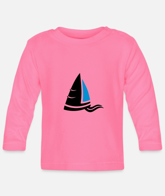 Sail Boat Baby Long-Sleeved Shirts - Sea air sailboat logo colored - Baby Longsleeve Shirt azalea