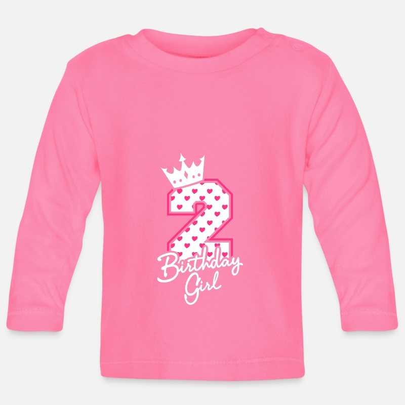 Birthday Baby Clothing - Zweiter Geburtstag-Second Birthday-Birthday Girl - Baby Longsleeve Shirt azalea