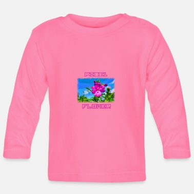 Pixel PIXEL FLOWER with pixel font - Baby Long Sleeve T-Shirt