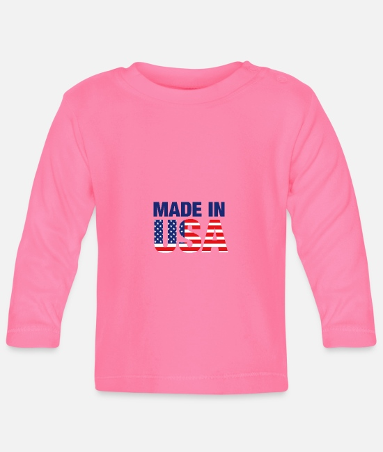 Usa Baby Clothes - Made in USA - Baby Longsleeve Shirt azalea