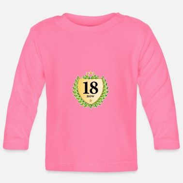 18th birthday crest laurel wreath golden stars - Baby Longsleeve Shirt