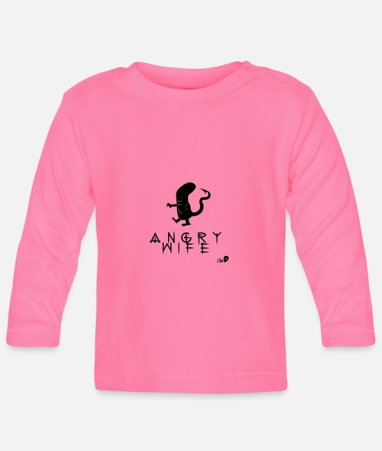 Wedding Day Baby Long Sleeve Shirts - ANGRY WIFE - Baby Longsleeve Shirt azalea