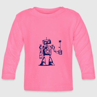 A robot with a flower - Baby Long Sleeve T-Shirt