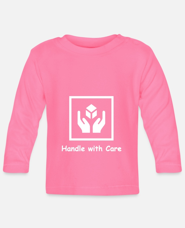 Present Baby Long-Sleeved Shirts - Handle with Care - Baby Longsleeve Shirt azalea