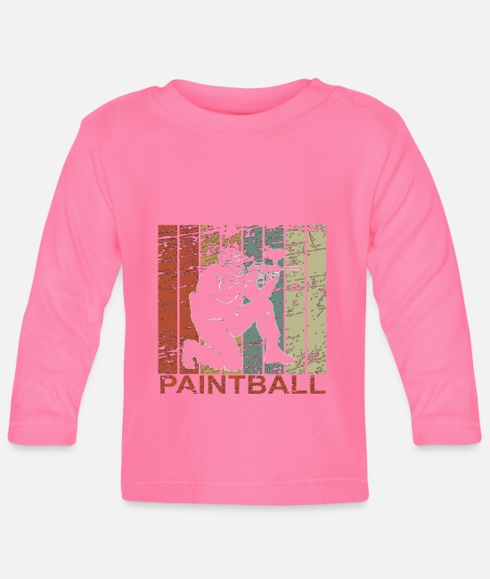 Colour Splash Baby Long-Sleeved Shirts - Paintball retro - marker, gift - Baby Longsleeve Shirt azalea