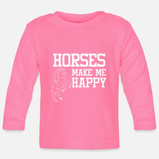 Horse Baby Clothes - Love horses stall riding - Baby Longsleeve Shirt azalea