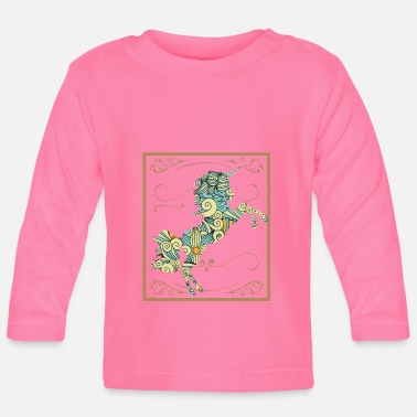 Ancient Unicorn Gift Mythical Creature Cool Colorful Flower Father - Baby Longsleeve Shirt