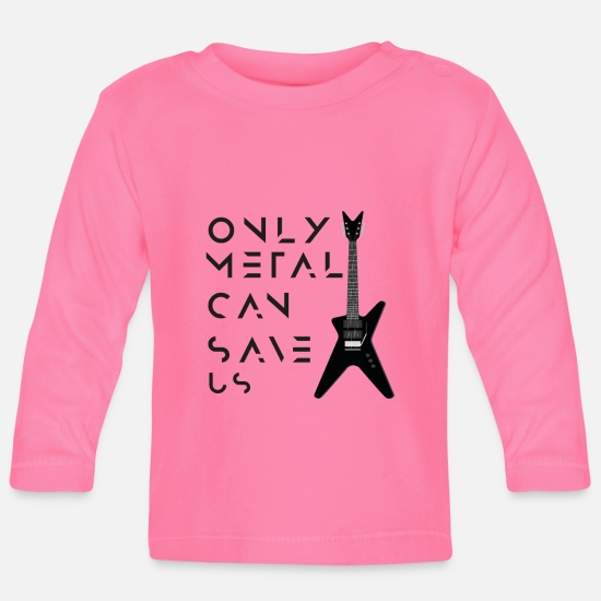 Metal Baby Clothes - ONLY METAL CAN SAVE US - Baby Longsleeve Shirt azalea