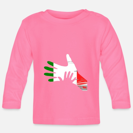 Christmas Present Baby Clothes - Daddy Child Hands Fathers Day Retro Gift Idea - Baby Longsleeve Shirt azalea