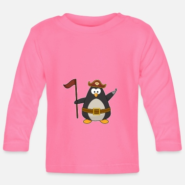 A Pirate Penguin as a pirate with a pirate belt & pirate hat - Baby Longsleeve Shirt