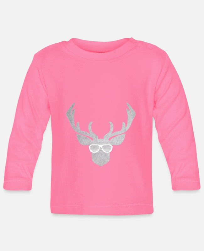 Nature Baby Long-Sleeved Shirts - Glasses with deer in silver and white for costume - Baby Longsleeve Shirt azalea