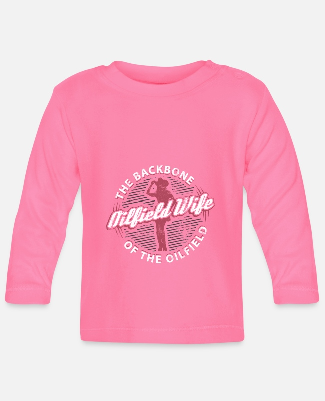 Middle East Baby Long-Sleeved Shirts - Oilfield Wife The Backbone Of The Oilfield Gift - Baby Longsleeve Shirt azalea