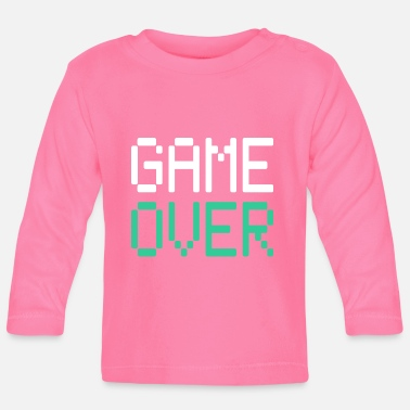 Ende Gaming Motiv GAME OVER in weiß und türkis - Baby Langarmshirt