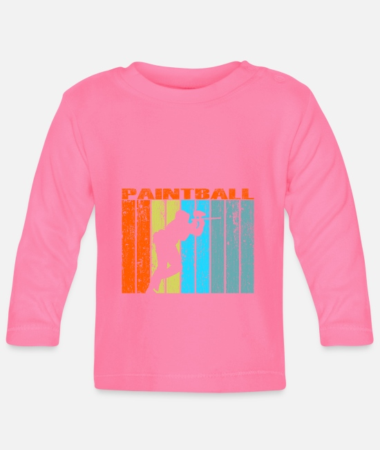 Colour Splash Baby Long-Sleeved Shirts - paintball retro gift vintage - Baby Longsleeve Shirt azalea