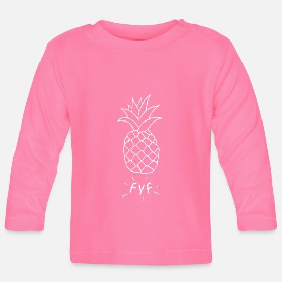 Pineapple Baby Clothes - Juicy FYF pineapple white - Baby Longsleeve Shirt azalea