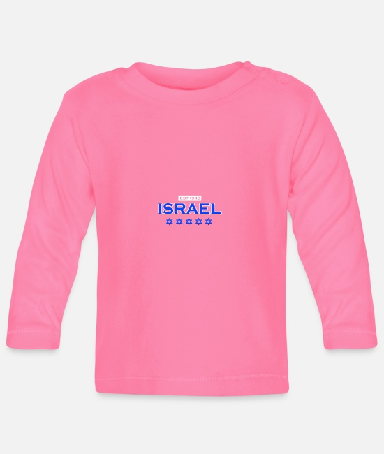 Middle East Baby Long-Sleeved Shirts - Israel since 1948 gift to Jews Star of David - Baby Longsleeve Shirt azalea