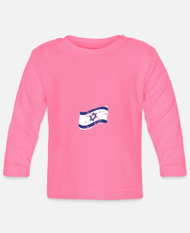 Think Baby Long-Sleeved Shirts - Israel Gift Country Nation Judaism Flag Jew - Baby Longsleeve Shirt azalea