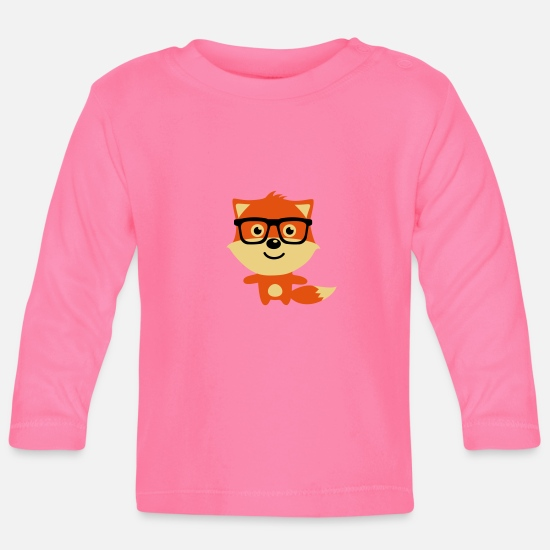 Bestsellers Q4 2018 Baby Clothes - Cute & Funny Hipster Baby fox with nerd glasses - Baby Longsleeve Shirt azalea