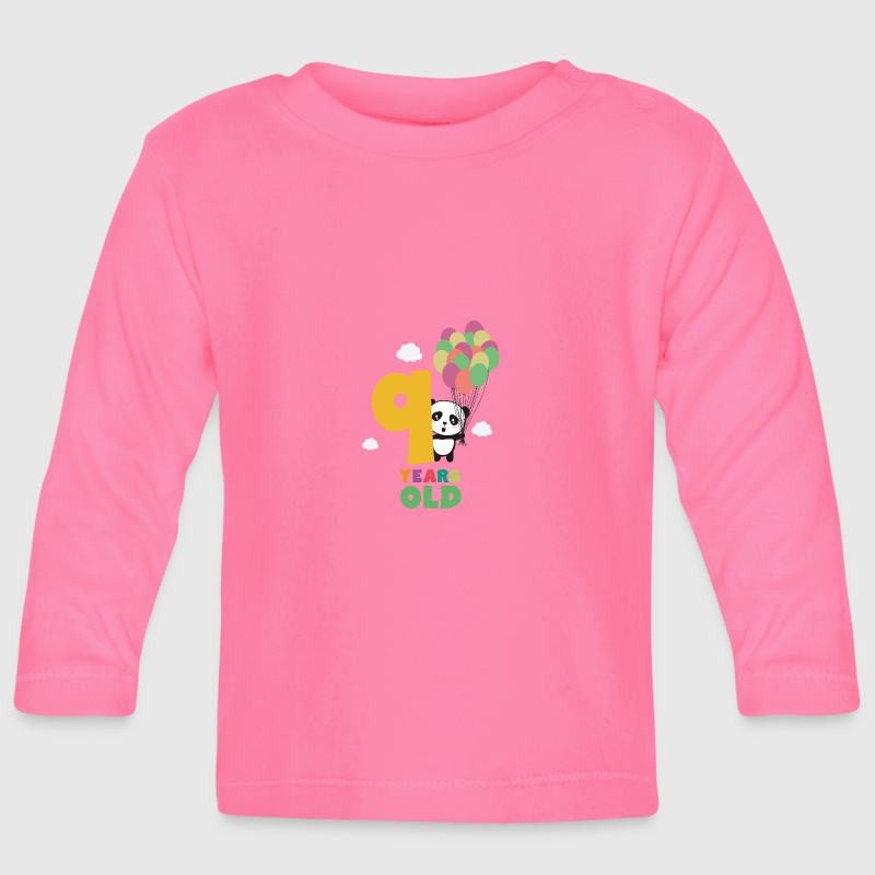 Nine Years 9th Birthday Party Panda Swofi - Baby Long Sleeve T-Shirt