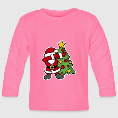 Père Noël Dabbin' around the Christmas tree - T-shirt manches longues Bébé