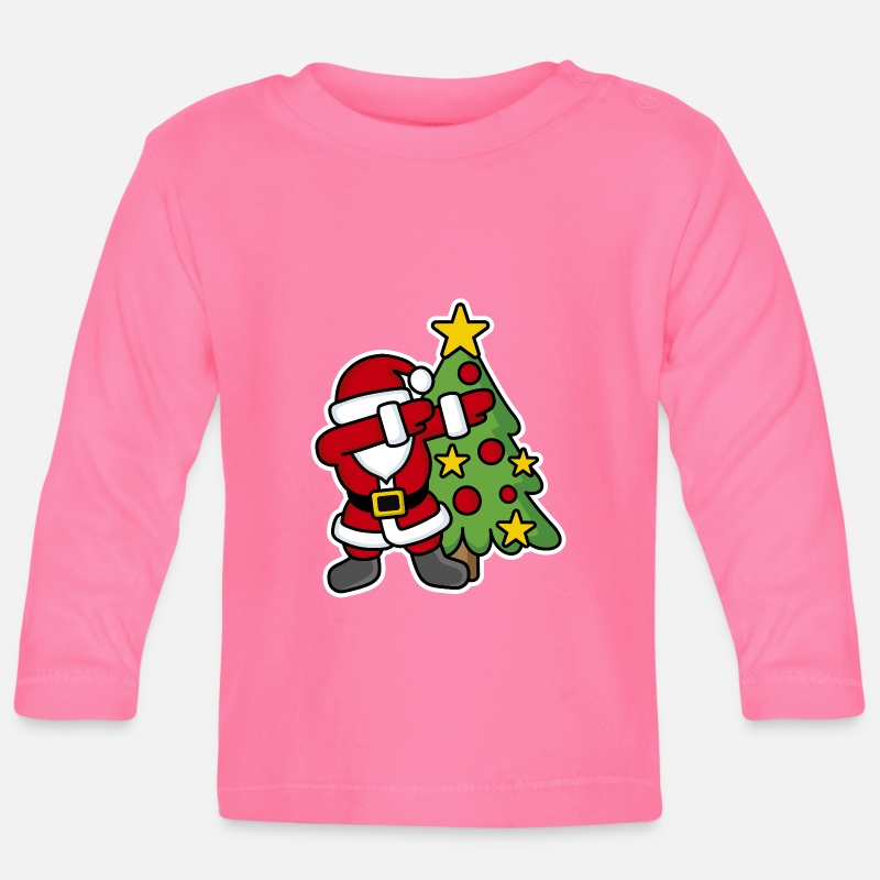 Navidad Ropa de bebé - Dabbin' around the Christmas tree - Camiseta de manga larga bebé azalea