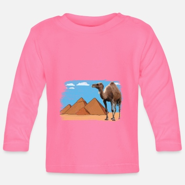 Camel in front of pyramids - Baby Longsleeve Shirt