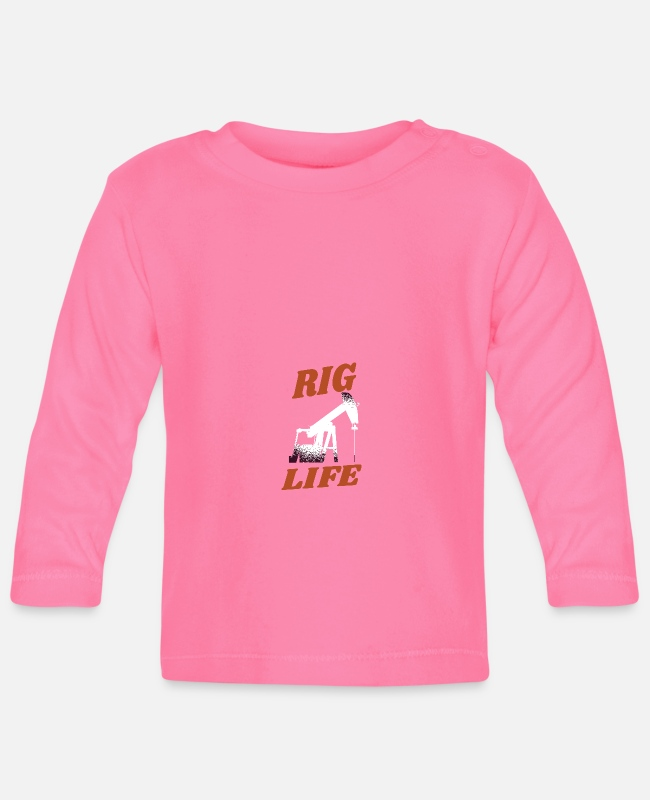 Rig Baby Long-Sleeved Shirts - OILFIELD: Rig life - Baby Longsleeve Shirt azalea