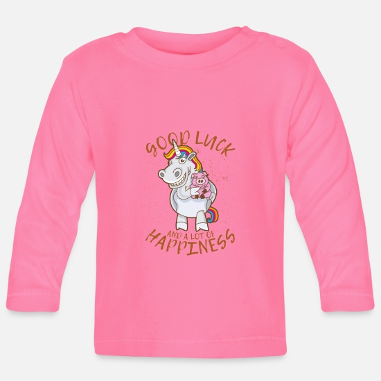Lucky Baby Clothes - Unicorn good luck lucky pig lucky saying - Baby Longsleeve Shirt azalea